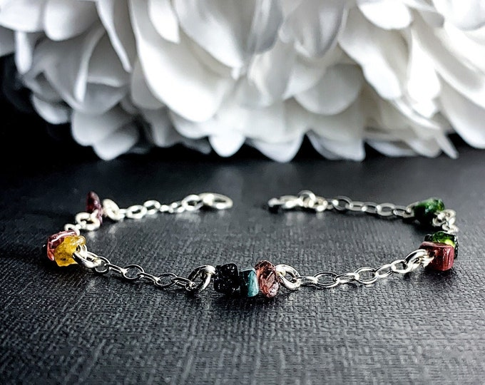Raw Tourmaline Satellite Chain Beaded Bracelet Sterling Silver