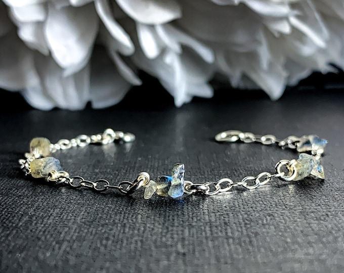 Raw Labradorite Crystal Bracelet Sterling Silver Anklet