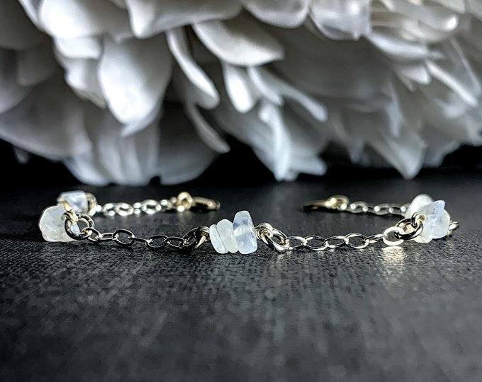 Moonstone Crystal Bracelet Sterling Silver Anklet