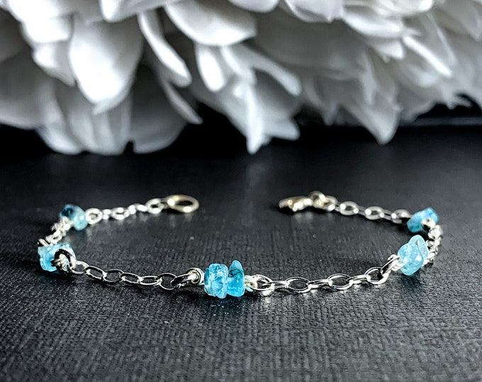 Blue Apatite Crystal Bracelet Silver Anklet Satellite Chain