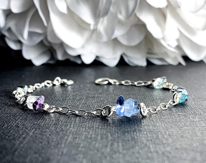 Rainbow Blue Fluorite Bracelet Protection Ankle Bracelet Sterling Silver Anklet