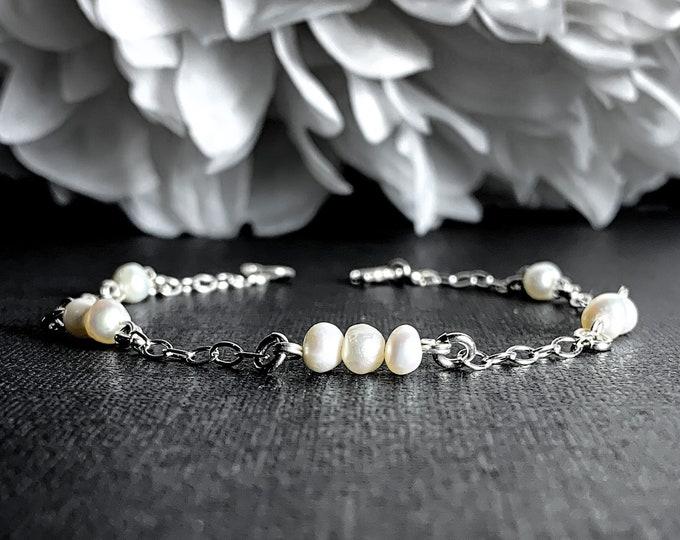 Cultured Pearls Pearl Bracelet, Sterling Silver Satellite Chain Bracelet, Anklet, Ankle Bracelet
