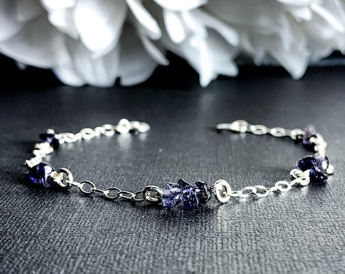 Iolite Bracelet Sterling Silver Satellite Chain Anklet