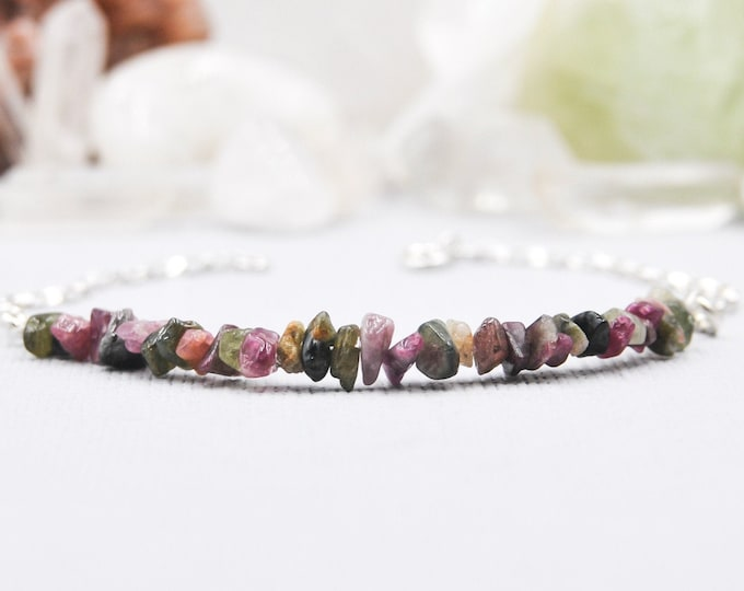 Raw Tourmaline Bracelet Positive Energy Anxiety Stones October Birthstone Stacking Bracelet Libra Birthstone Anxiety Gifts Layering Bracelet