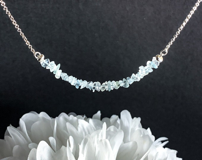 Raw Aquamarine Crystal Necklace Pisces Aquamarine March Birthstone Birthday