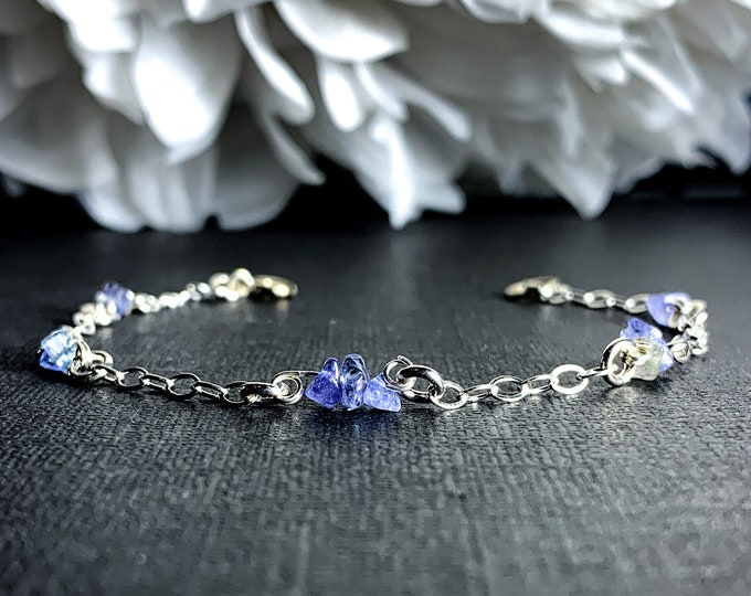 Tanzanite Beaded Bracelet Ankle Bracelet Satellite Chain Silver Anklet