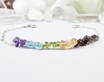 Rainbow Bracelet Gemstone Bracelet Friendship Bracelet Macrame Jewelry Chakra Bracelet Gemstone Chakra Macrame Bracelet Bracelet