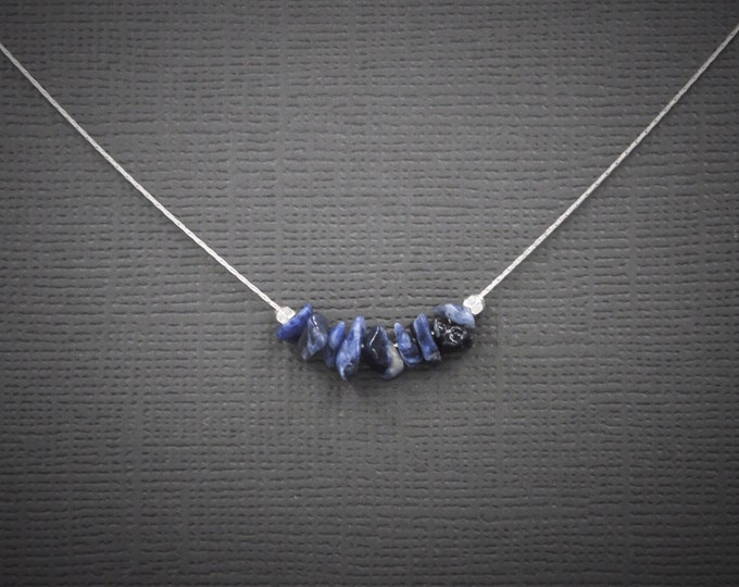 Sodalite Necklace Anxiety Crystals Dainty Simple Choker Necklace, Minimalist Anxiety Jewelry