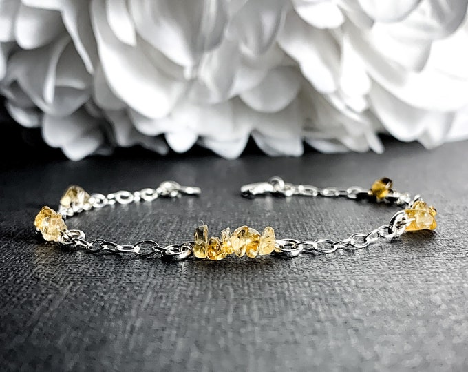 Natural Citrine Silver Bracelet Satellite Ankle Bracelet