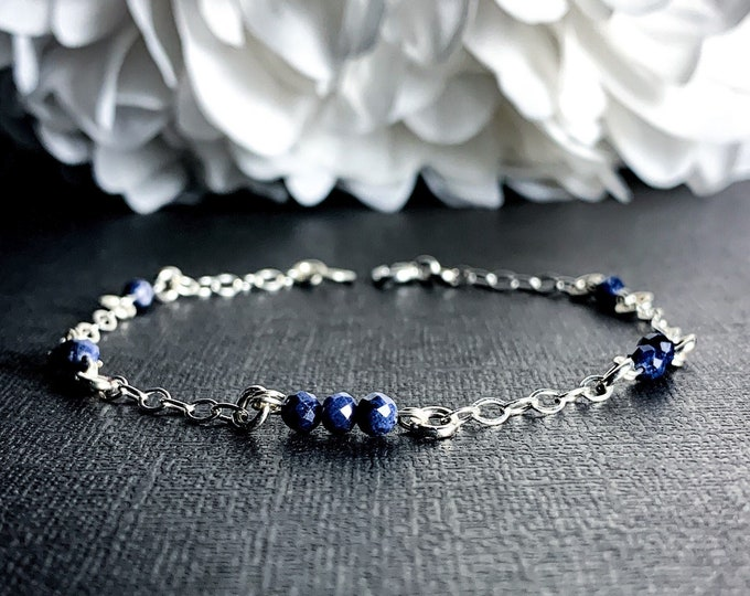Sapphire Birthstone Bracelet Silver Anklet Elegant Bracelet