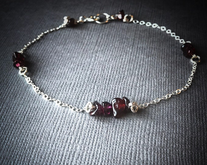 Raw Garnet Satellite Bracelet, Beaded Anklet