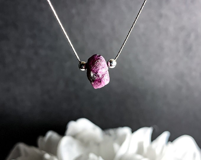 Raw Ruby Necklace Raw Crystal Minimalist July Birthstone Pendant
