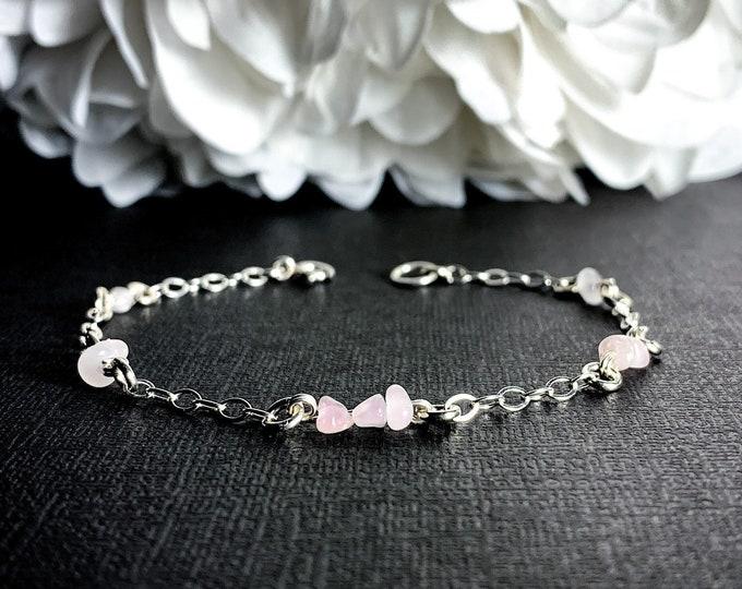 Rose Quartz Bracelet Ankle Bracelet Sterling Silver