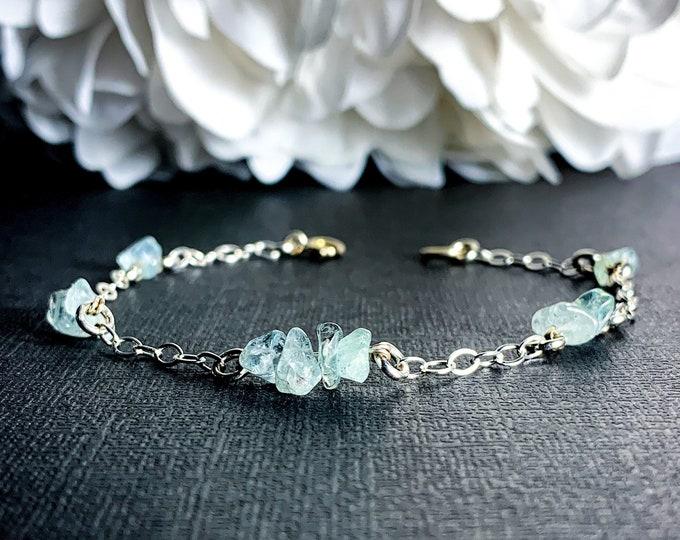 Aquamarine Birthstone Bracelet Satellite Chain Sterling SIlver