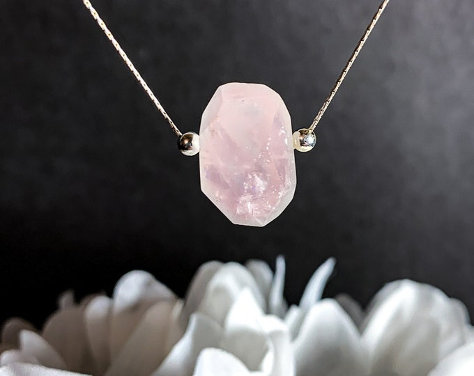 Rose Quartz Crystal Necklace Anxiety Fertility Gift