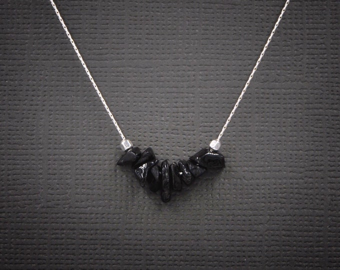 Raw Spinel, Black Spinel Necklace, Grounding Jewelry, Protection amulet