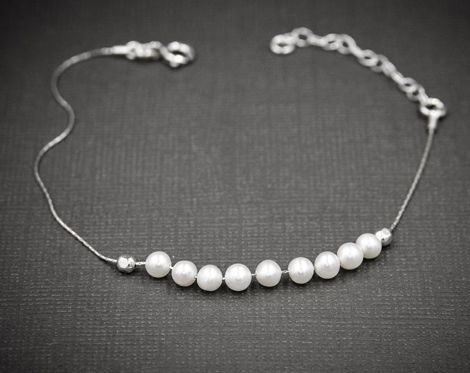 Real Pearls Dainty Anklet, Tiny Pearls Silver Anklet, Bracelet Femme, June Birthstone