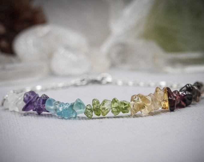 7 Chakra Bracelet, Raw Crystal Bracelet, Raw Chakra Stones, Seven Chakras 7 Chakras Colorful Bracelet Rainbow Bracelet Chakras