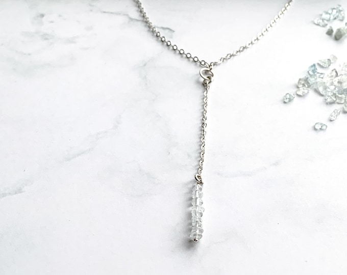 Dainty Sterling Silver Aquamarine Y Lariat Necklace with Thin Silver Chain