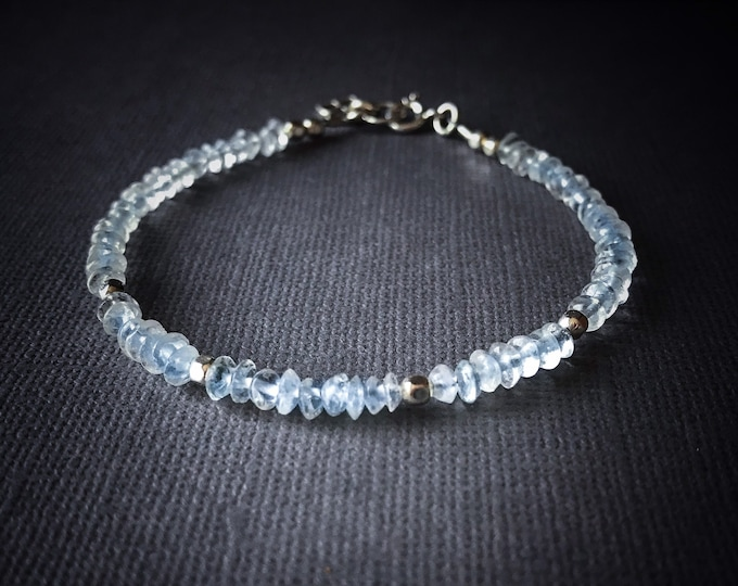 Aquamarine Bracelet, Pisces March Birthday pregnancy gift