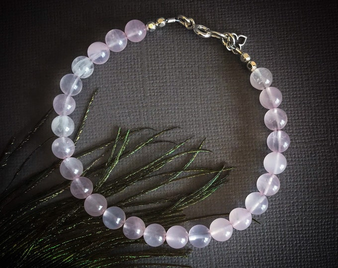 Rose Quartz Bracelet Femme, fertility crystal anxiety jewelry