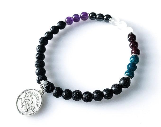 Aquarius Zodiac Bracelets Astrology Jewelry Lava Bead Bracelet Zodiac Bracelet