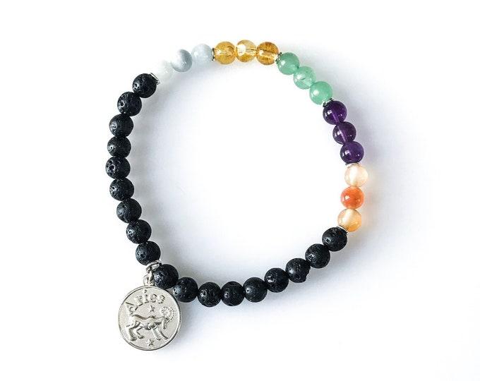 Aries Bracelet Aries Jewelry Lava Bead Bracelet Diffuser Bracelet Astrology Jewelry