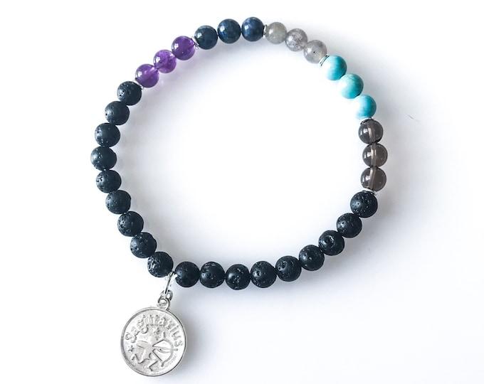 Sagittarius Jewelry Lava Stone Bracelet Zodiac Bracelets Sagittarius Gift