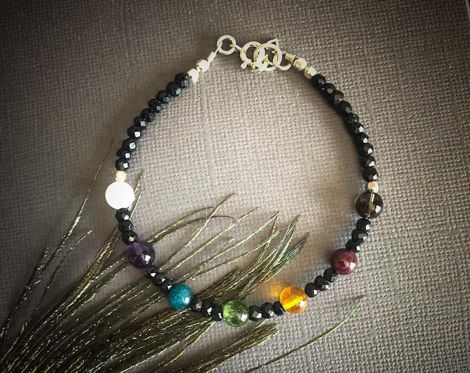 Seven Chakra Mindfulness Spinel Bracelet, 7 chakra bracelet