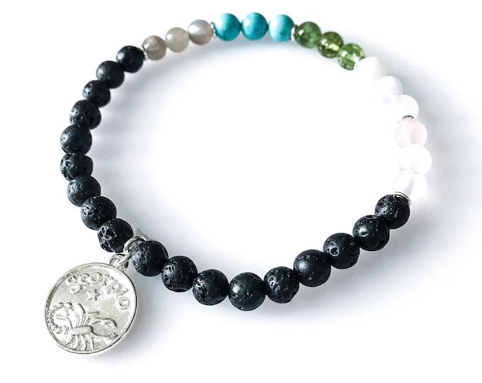 Scorpio Bracelet Horoscope Jewelry Lava Bead Bracelet Scorpio Jewelry astrology bracelet