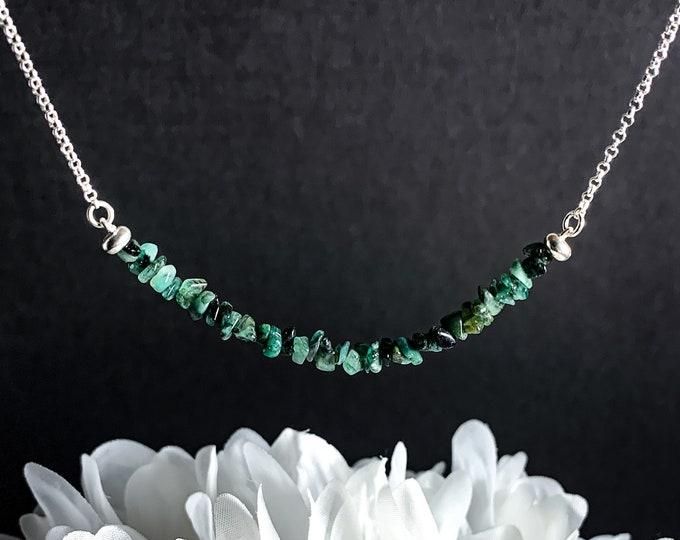Raw Emerald Bead Bar Necklace Genuine Rough Emerald May Birthstone Healing Crystals