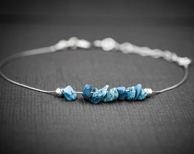 Raw Turquoise Anklet, Anxiety Bracelet, Calming Bracelet, Dainty Anklet, December Birthstone