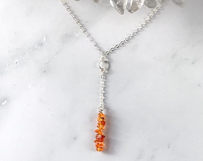 Raw Carnelian Y Lariat Necklace Anniversary gift for birthday, Carnelian gemstone minimalist jewelry for her, Success beaded crystal choker