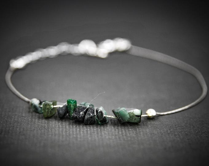 Raw Emerald Dainty Anklet, Emerald Anklet, Raw Emerald Jewelry, Mindfulness Gift