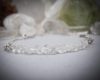 Clear Quartz Bracelet Gemstone Bracelet Anxiety Bracelet Raw Quartz Bracelet Positive Energy Stackable Bracelets Energy Bracelet anxiety
