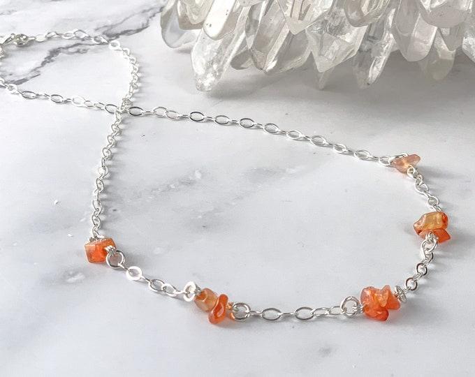 Raw Carnelian Crystal Necklace, Virgo Satellite Station Necklace in Silver, August birthstone Birthday gemstone, Womens jewelry Orange beads