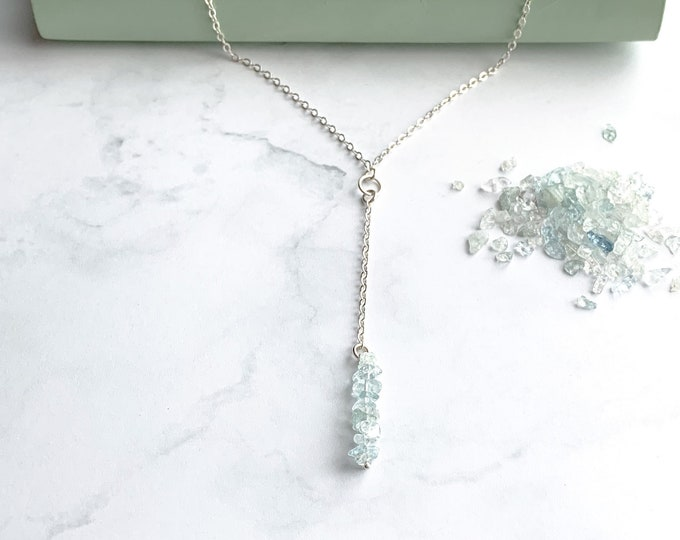 Rough Aquamarine Lariat Y Necklace thin silver choker necklace