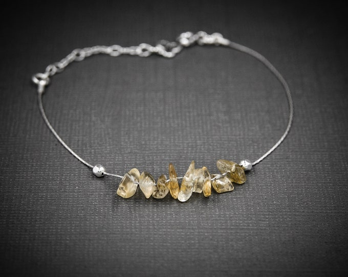 Raw Citrine Bracelet, Citrine Anklet, Prosperity Bracelet, Abundance Bracelet, Energy Bracelet