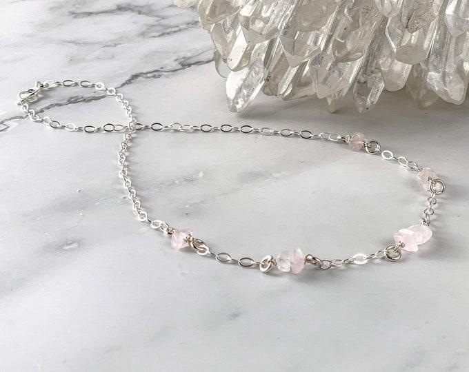 Dreamy Rose Quartz Necklace Valentine Gift, Genuine Rose Quartz necklace for valentine's day, raw rose pink crystal Satellite Station Choker