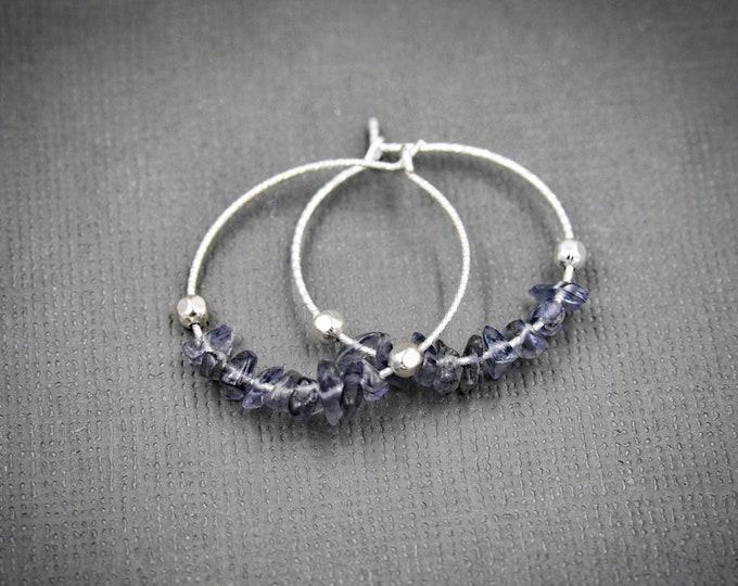 Raw Iolite Earrings Calming stones Anxiety Jewelry Raw Crystal earrings, aura cleansing