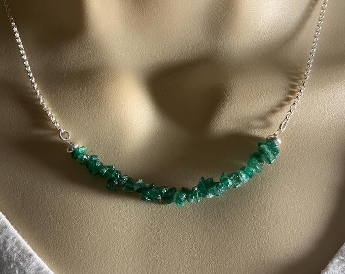 Aventurine Necklace, Prosperity Green Crystal Jewelry, Silver Choker, Balance