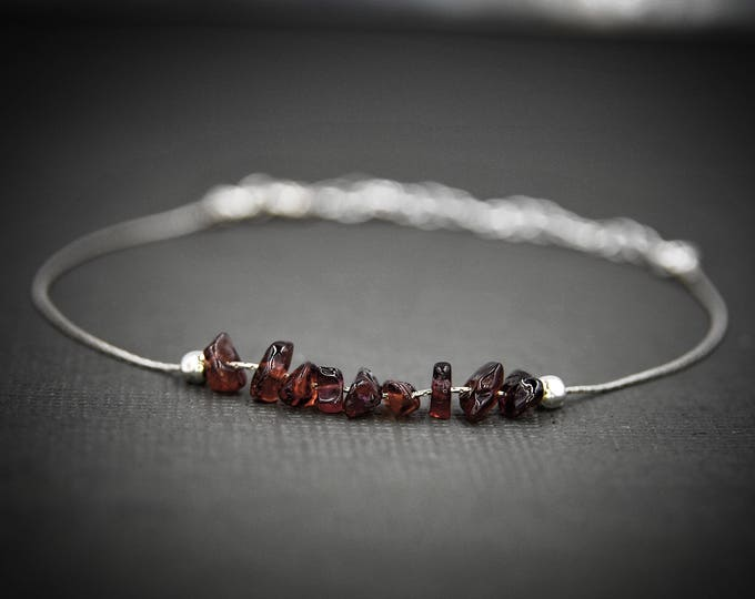 Bohemian Garnet dainty anklet, January Birthstone, Energy Bracelet, Calming Bracelet
