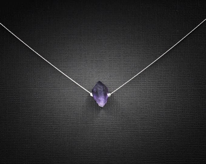 Raw Amethyst Point empath jewelry, amethyst choker, February Birthstone