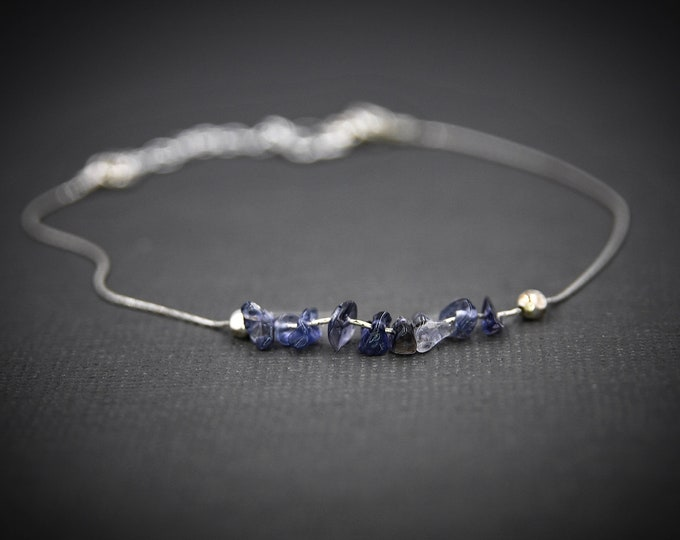 Raw Iolite Bracelet, Motivation Bracelet, Aura Cleansing Balance Bracelet, Dainty Anklet