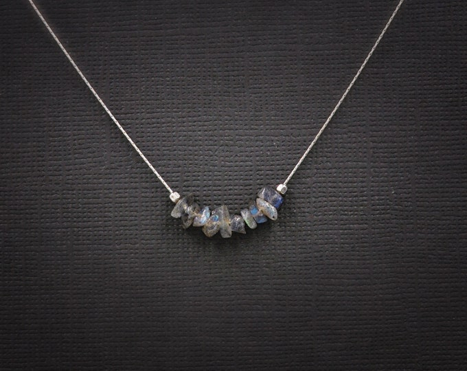 Labradorite Necklace Dainty Choker, Aura Cleansing, stress relief, anxiety necklace