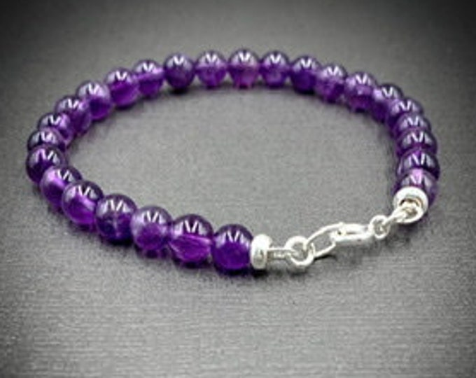 Silver and Amethyst Natural Crystal February Birthstone Bracelet