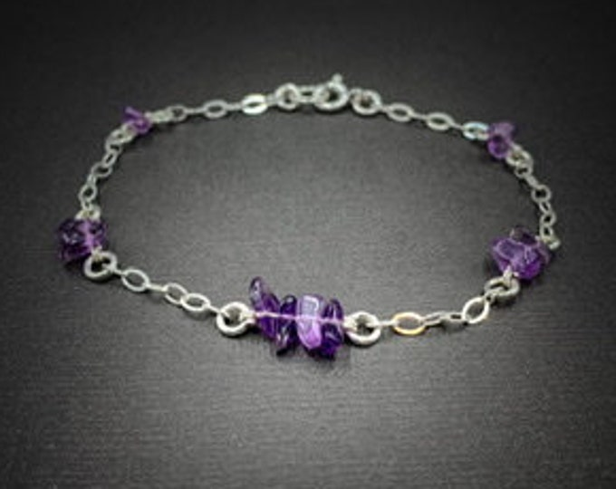 Amethyst Chip Satellite Bracelet Ankle Bracelet Dainty Bead Bracelet