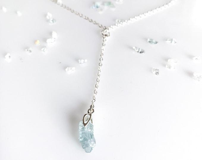 Raw Aquamarine Nugget Lariat Necklace Birthstone Jewelry