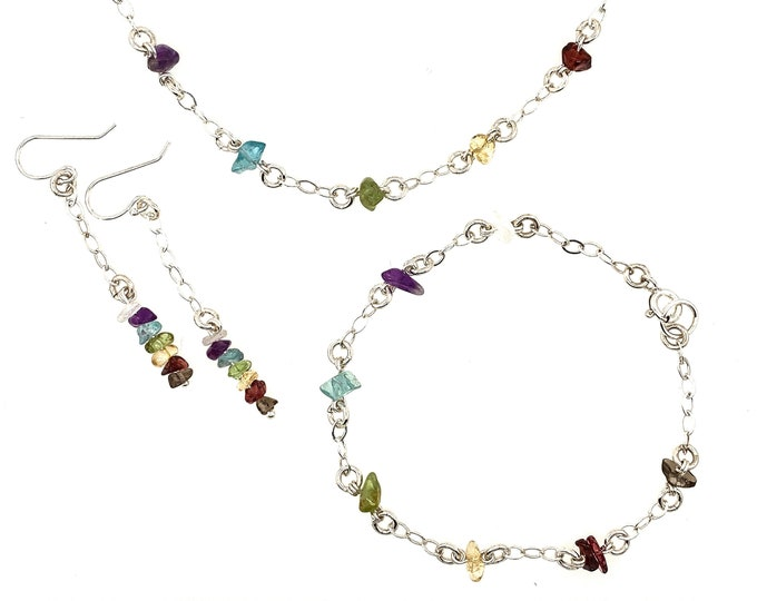 Chakra Jewelry Gift Set Satellite Necklace, Bracelet, Earrings