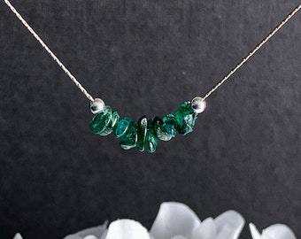 Green Aventurine Delicate Necklace Raw Crystal Choker Healing Crystals